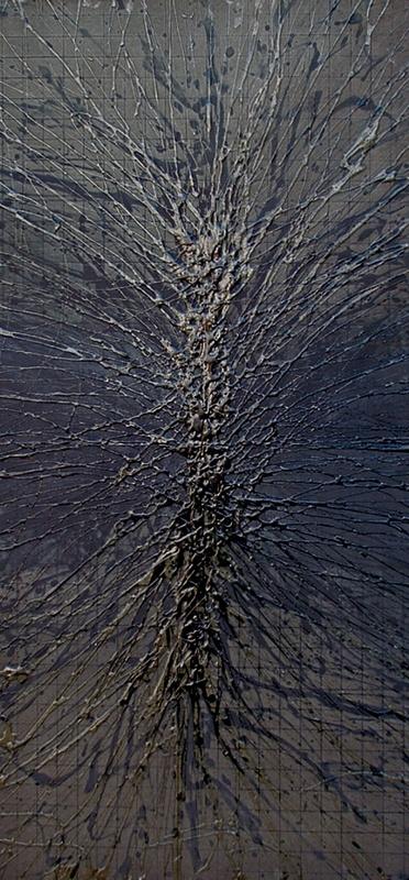 "Dark Innervation. 23""x11"" mixed media on paper"